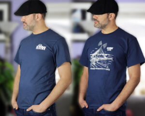 man with two kxrw shirts
