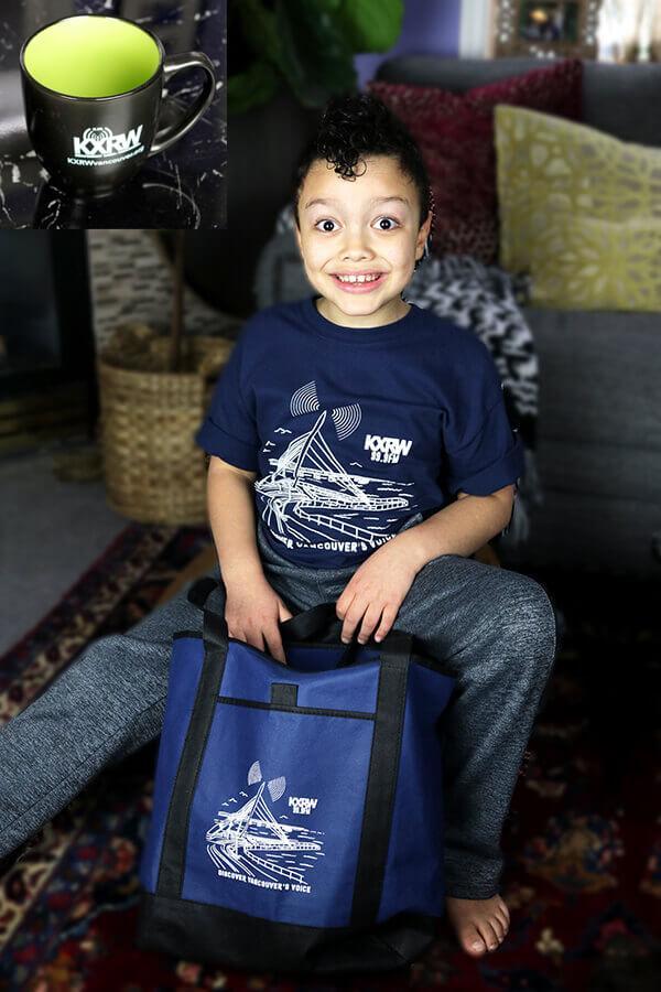 KXRW shirt, bag, and mug combo
