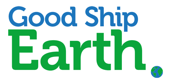 Good Ship Earth text logo with tiny earth as period